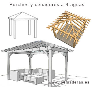 Cenadores de madera venta e instalaci n ipe maderas for Tejados de madera a 4 aguas