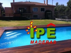 Tarima de madera Itauba en piscina