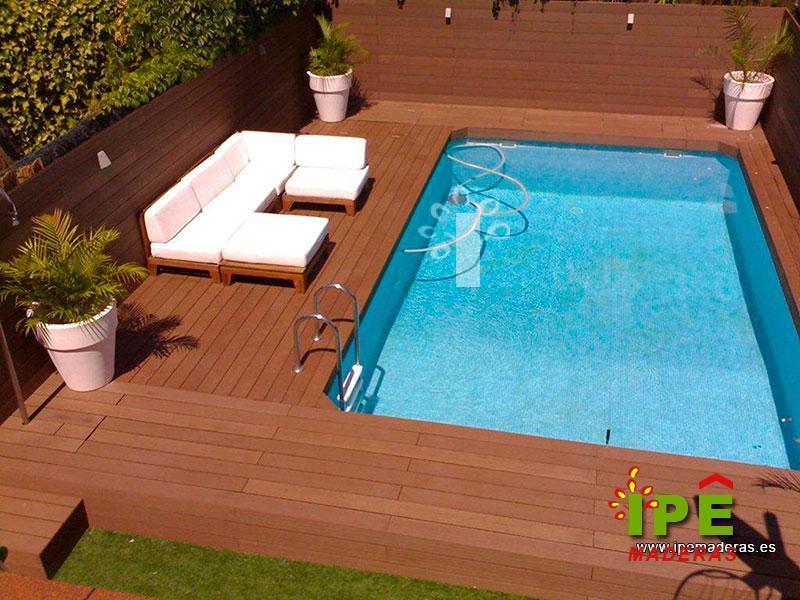 Tarima de madera exterior para piscinas en ipe maderas for Madera para piscinas